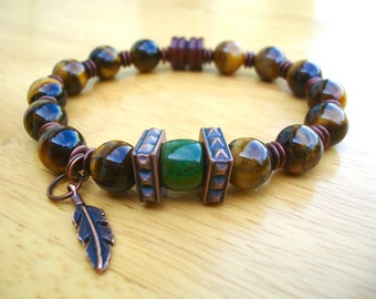 Native American Men's Spiritual Protection, Balance Bracelet with Semi Precious Tiger's Eye, American Turquoise, Copper Feather Charm, Wood