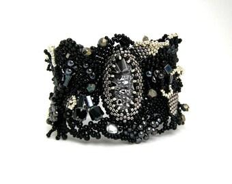 Black jewelry Womens jewelry Black beaded bracelet, Black cuff, Gift for women, Christmas gift idea, Boho bracelet, Freeform beadwork