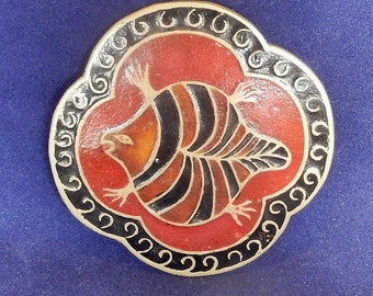 Brass and enamel large pendant with an orange and black turtle design, Made in India, Signed India L218, Brass jewelry, Vintage collectible