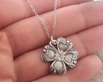 Fine silver four leaf clover necklace/ lucky 4 leaf clover/ recycled fine silver