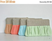 ON SALE Linen SET of 4 bridesmaid clutch Spring Wedding Ruched  bags pleated linen choose your colour, bridal clutch