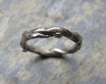 White gold textured ring- Organic white gold ring