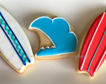 Waves and Surf Board Cookies 2 dozen