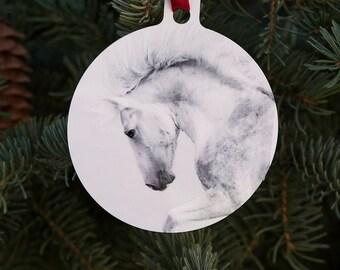 Holiday Horse Ornament - Cloud's Pride - Horse Fine Art Photograph - Wild Horse - Cloud - Christmas - Horse Ornament