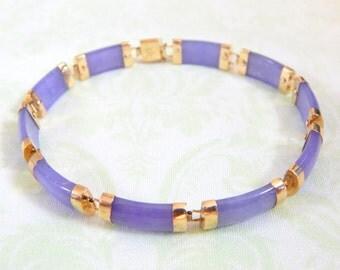 Lavender and Honey: Lavender Jade Link Bracelet 10k Gold
