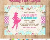 SHABBY CHIC COWGIRL invitation - You Print - Original in Pink and Teal