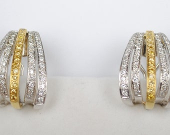 Estate White and Yellow Pavé Diamond Two Tone Earrings