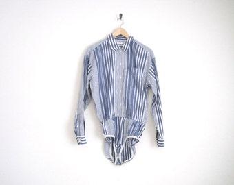 90s Bodysuit. Blue Striped Bodysuit Leotard. 90s Leotard with Stripes. Blue Button Down Top.