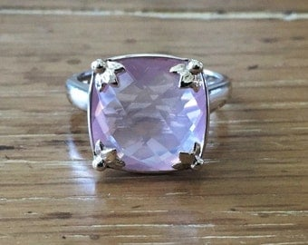 Rose Quartz Sterling Silver Ring - Silver Gemstone Ring - Square Rose Quartz - Rose Quartz Jewelry