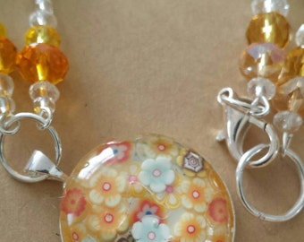 Sale was 18 now 16uk Orange and Yellow  Faux Milli Fiori Necklace .