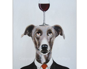 Greyhound Painting, Wine Art, Dog with wineglass by painter Coco de Paris