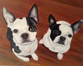 French bulldog art painting from photo 12x16 16x20 custom pet portrait two pets hand painted on canvas
