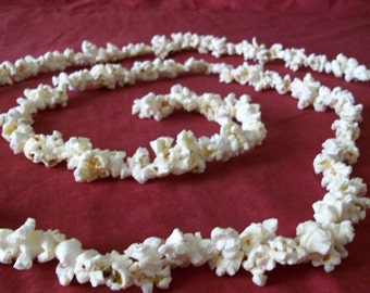 Popcorn Garland Treated with Triple Thick Clear Acrylic 8 ft Hand Strung Old Fashioned Tree Garland Primitive