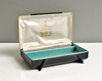 Mid-Century Velvet Lined Jewelry Box