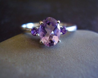 Genuine Amethyst Faceted Oval Cut Solid 925 Sterling Silver Ring - Alternative Engagement Ring - Nontraditional Women's Wedding Ring