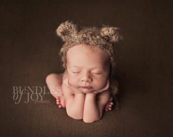 Luxury fluffy mohair teddy bear bonnet. Newborn. Great photo photography prop.