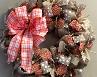 Wreath it! Burlap Wreath for Door or Wall Orange White Tan - Made with our Patent Pending Base