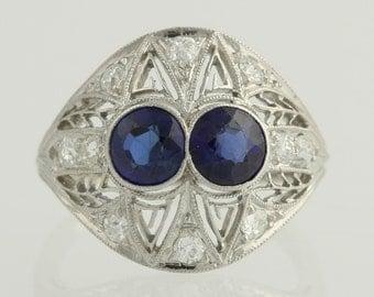 Art Deco Synthetic Sapphire & Diamond Ring - Platinum Vintage Filigree 1.70ctw L4722