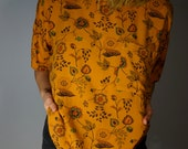 Vintage Blouse XS S M L Floral Mustard Gold Teal Psychedelic Ethnic Folk Mod Boho Hippie Gypsy Club Kid Grunge 80s 90s Bohemian Hipster Top