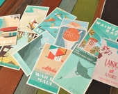 4x6 Retro Hawaii Postcards - set of 10
