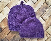 RESERVED custom listing // matching purple mother & daughter hats // recycled wool