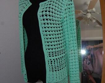 Crochet Sweater in  a green Bamboo/cashmere size Medium