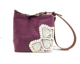 Cross Body Linen Hobo Bag with Vintage Doily in Plum