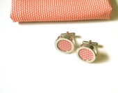 Vintage Japanese silk cuff links with mini leaf print in ivory on salmon pink silk
