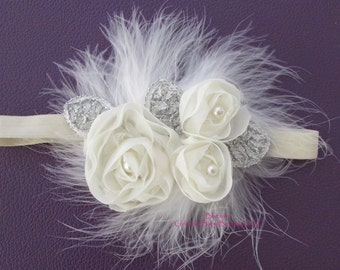 Ivory or white Chiffon Flower with silver accent and puffy feathers, photo prop, wedding, bride, flower girl, baby pictures