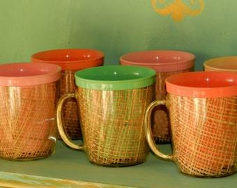 Raffiaware Mugs 1960's- Set of Six