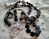 Rosary in Black, Black Rosary, Rosary with Bling, Rosary for Birthday, Rosary for Communion, Rosary Collector of Rosaries