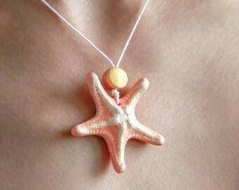 Peach Starfish Necklace Handmade with Clay / Beach Wedding / Handmade Jewelry / Star Necklace