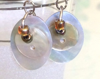 Vintage Mother of Pearl, Oval Button Dangle Earrings
