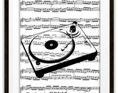 SALE Turntable Music Book Page Art Print, Gift Ideas, DJ, Disc Jockey, Pop Rock, Country, Sound Engineer, Record Collector, Home Decor