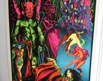 """SALE Original """"The Exorcist Castle"""" Blacklight Flocked  Poster"""