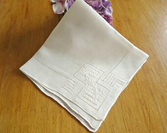 Handkerchief Hanky Hankie  Vintage Off White Open Work  Applique Men's Handkerchief