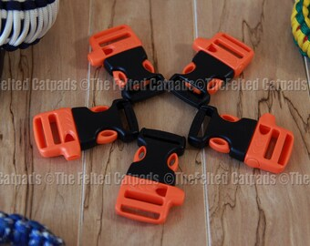 "Whistle Buckles 5 ITW Nexus WhistleLoc 3/4"" Orange - for Paracord Bracelets Flat Webbing"