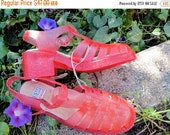 SALE 1990s jellies UNWORN sandals by GUESS heel open toe chunky cut out criss cross strappy magenta stack platform vintage // Us Size 8 to 7