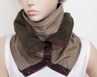 Mens scarf ,Unisex winter chunky scarf  infinity  NECKWARMER with snaps on GENUINE LEATHER