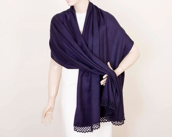 Wedding  shawl,Bridesmaids shawl gifts, Pashmina shawl,maid of Honor gift , with handmade lace, navy