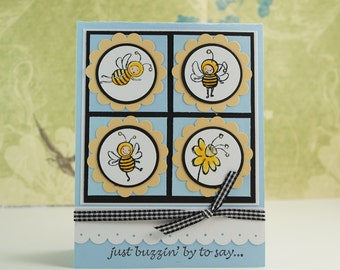 Bee Hello Card - Greeting Card - Handmade Card - Just Because Card - Card with Bees - Summer Card - Bee Card - Cancer Support Card