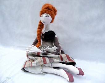 OOAK art doll, jointed, handmade, handsewn, handpainted, rusty, brown, red, romantic cloth doll, valentines day
