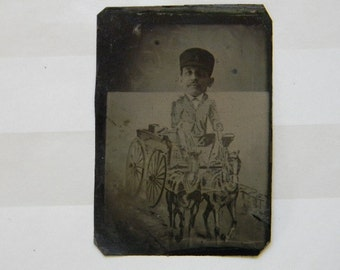 TINTYPE PHOTO, Rare Antique Humorous Cartoon Collectible Tintype Photo