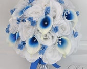 "17 Piece Package Silk Flowers Wedding Bouquet Bride Bridal Party Bouquets Decorations Centerpieces WHITE ROYAL BLUE ""Lily of Angeles"" BLWT05"