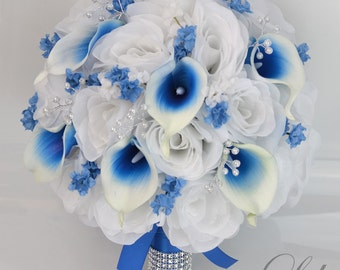 "Wedding Bridal Bouquet 17 Piece Package Silk Flowers Bride Party Bouquets Decorations Centerpieces WHITE ROYAL BLUE ""Lily of Angeles"" BLWT05"