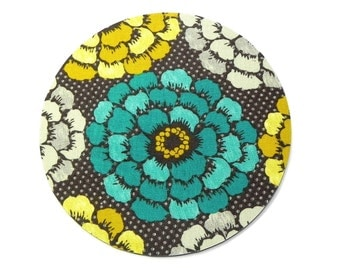 Mouse Pad - Round Fabric mousepad - Floral in teal, mustard and grey - Home office computer - Hot pad