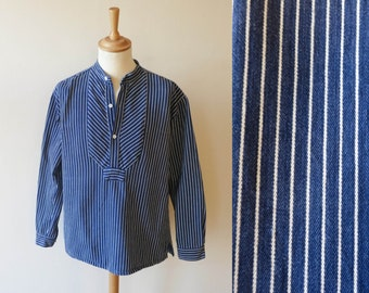 vintage WORKER SHIRT heavy cotton navy blue & white striped fishermen's shirt nautical workwear size XL long sleeved vintage maritime blouse