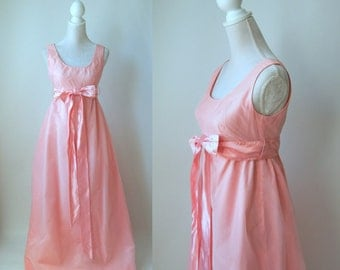 Vintage 1960s Pink and White Swiss Polka Dot Gown