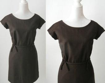 Vintage Dress, 1950s Dress, 1950s Brown Dress, Gingham Vintage Dress, Chequered 50s Dress, Retro 50s Dress, Mini Vintage Dress, 50s Mini