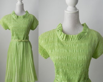 Vintage Dress, Green Vintage Dress, 1950 Dress, 1950 Green Dress, Retro 50s Dress, Green Pleated Dress, Green Cotton Dress, 50s Cotton Dress